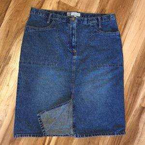 Medium wash denim skirt with front split